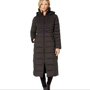 Bernardo EcoPlume Maxi Coat w/ Side Vent Zippers